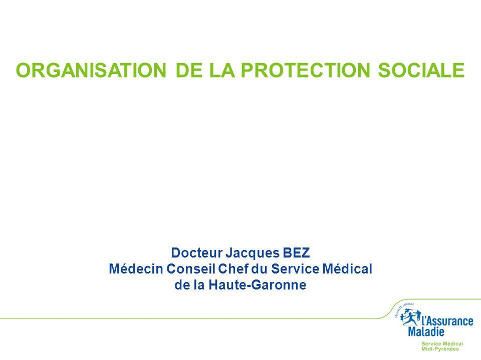 ORGANISATION DE LA PROTECTION SOCIALE Docteur Jacques BEZ Médecin Conseil Chef du Service Médical de la Haute-Garonne