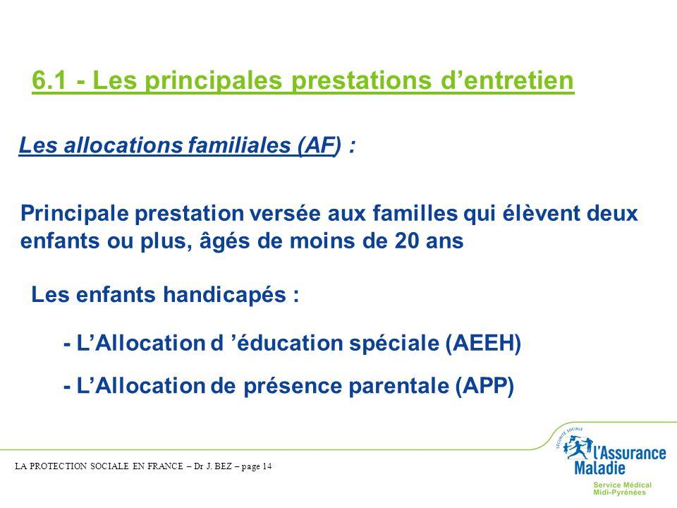 6.1 - Les principales prestations dentretien Les allocations familiales (AF) : Principale prestation versée aux familles qui élèvent deux enfants ou p