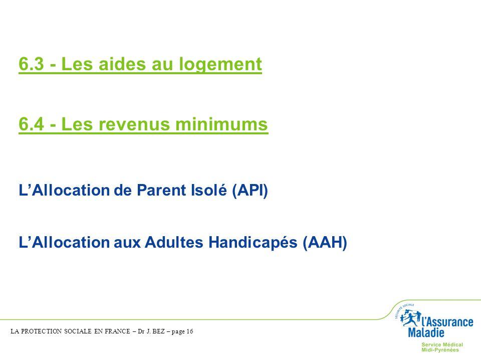 6.3 - Les aides au logement 6.4 - Les revenus minimums LAllocation de Parent Isolé (API) LAllocation aux Adultes Handicapés (AAH) LA PROTECTION SOCIAL
