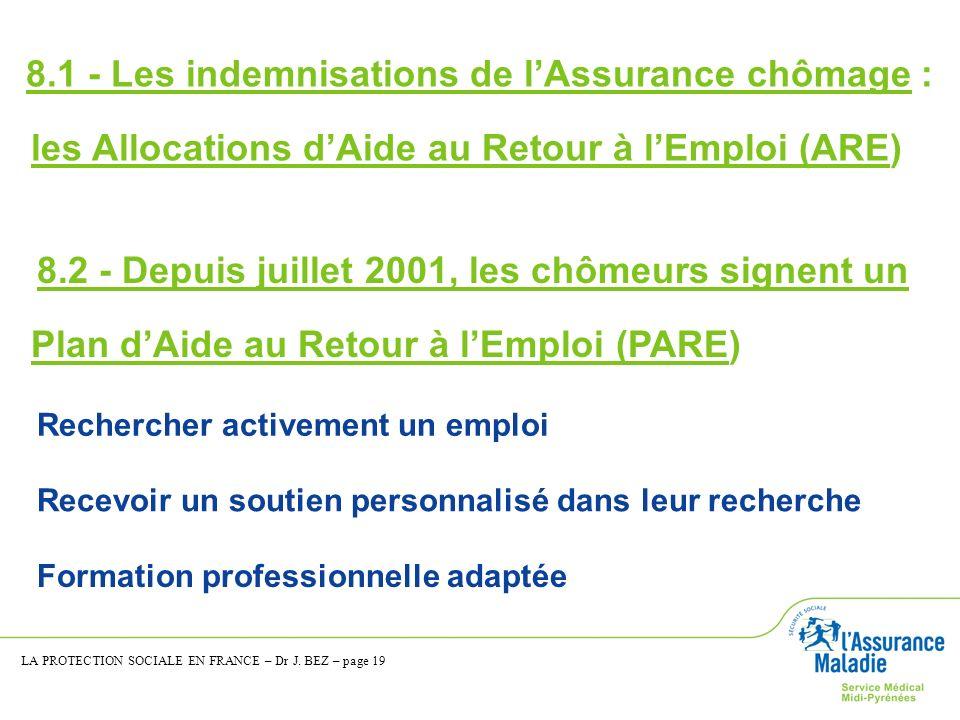 8.2 - Depuis juillet 2001, les chômeurs signent un Plan dAide au Retour à lEmploi (PARE) Rechercher activement un emploi Recevoir un soutien personnal