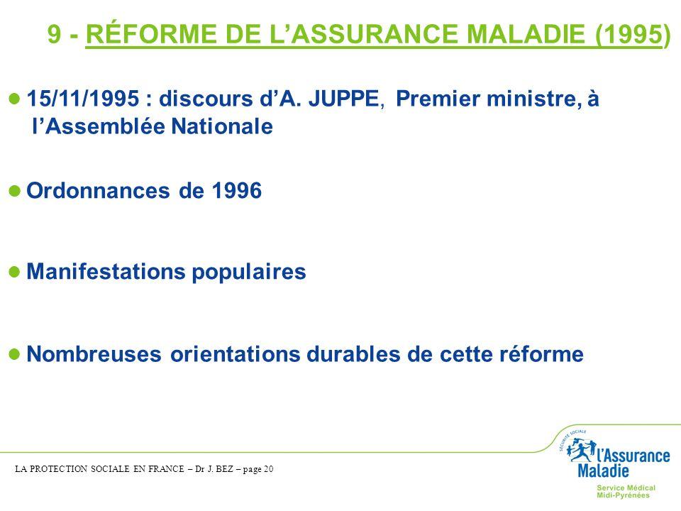 Ordonnances de 1996 15/11/1995 : discours dA. JUPPE, Premier ministre, à lAssemblée Nationale Nombreuses orientations durables de cette réforme Manife