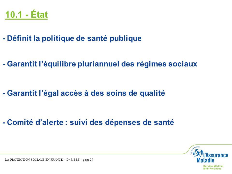 10.1 - État - Définit la politique de santé publique - Garantit léquilibre pluriannuel des régimes sociaux - Garantit légal accès à des soins de quali