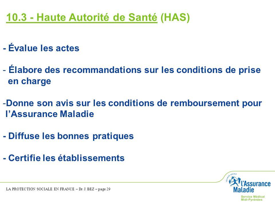 10.3 - Haute Autorité de Santé (HAS) - Évalue les actes - Élabore des recommandations sur les conditions de prise en charge -Donne son avis sur les co