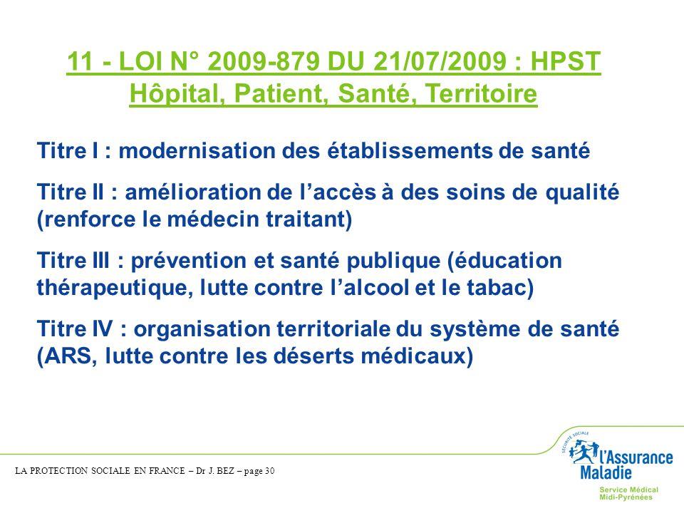 11 - LOI N° 2009-879 DU 21/07/2009 : HPST Hôpital, Patient, Santé, Territoire Titre I : modernisation des établissements de santé Titre II : améliorat