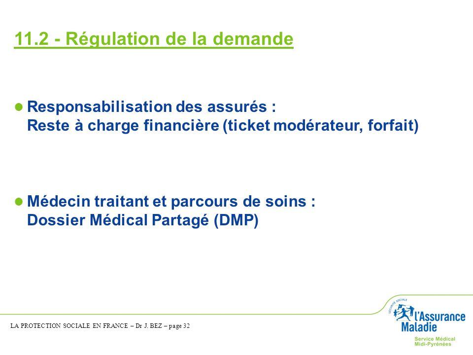 11.2 - Régulation de la demande Responsabilisation des assurés : Reste à charge financière (ticket modérateur, forfait) Médecin traitant et parcours d