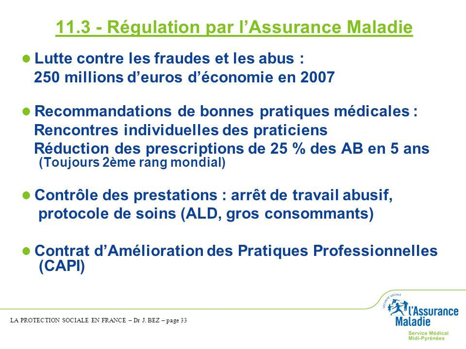 11.3 - Régulation par lAssurance Maladie Lutte contre les fraudes et les abus : 250 millions deuros déconomie en 2007 Recommandations de bonnes pratiq