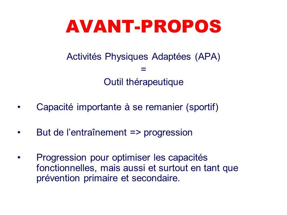AVANT-PROPOS Activités Physiques Adaptées (APA) = Outil thérapeutique Capacité importante à se remanier (sportif) But de lentraînement => progression Progression pour optimiser les capacités fonctionnelles, mais aussi et surtout en tant que prévention primaire et secondaire.