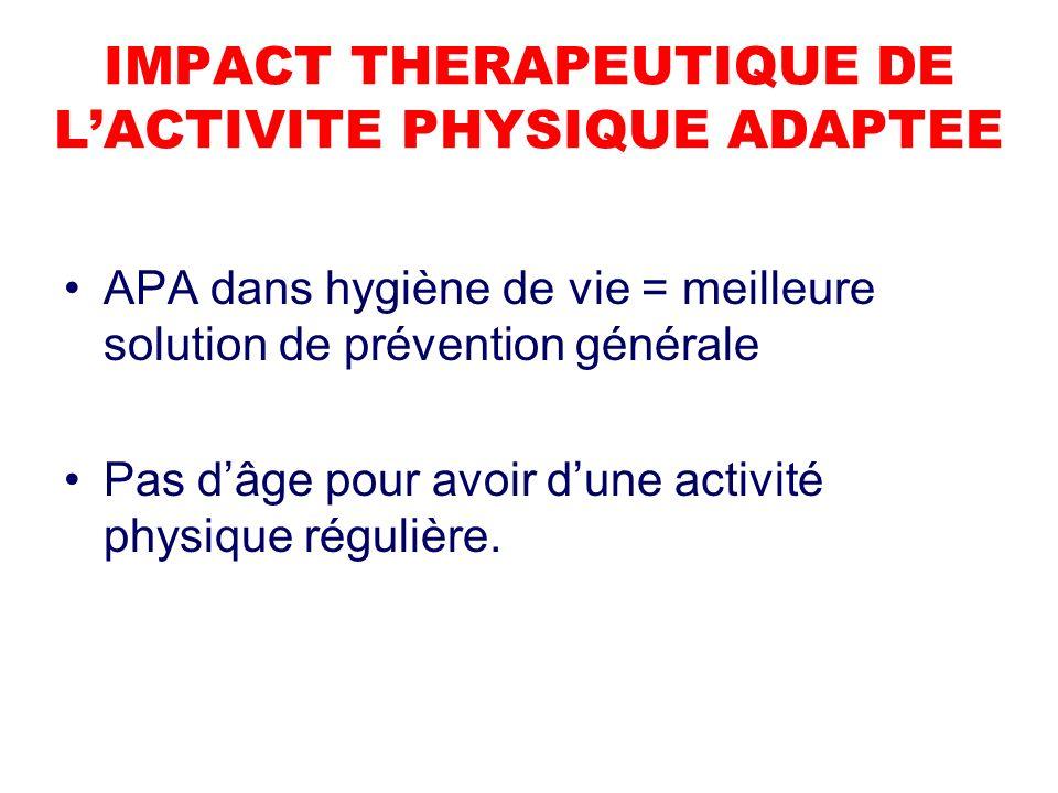 IMPACT THERAPEUTIQUE DE LACTIVITE PHYSIQUE ADAPTEE APA dans hygiène de vie = meilleure solution de prévention générale Pas dâge pour avoir dune activité physique régulière.