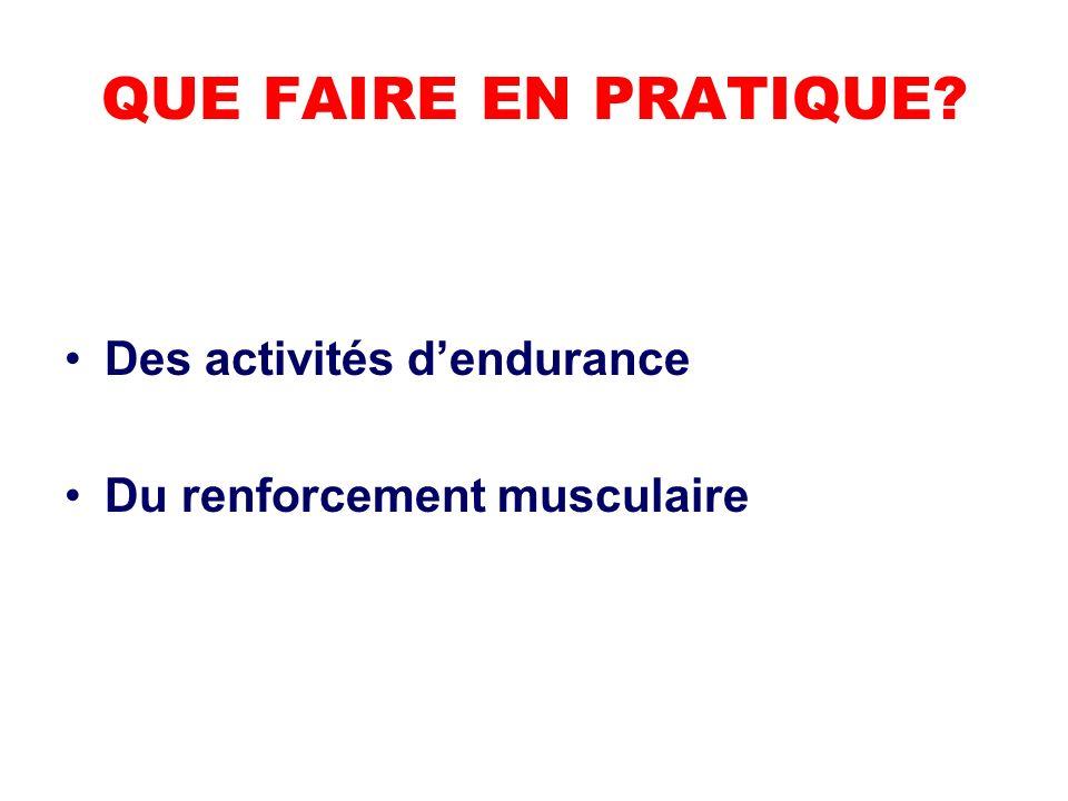 QUE FAIRE EN PRATIQUE? Des activités dendurance Du renforcement musculaire