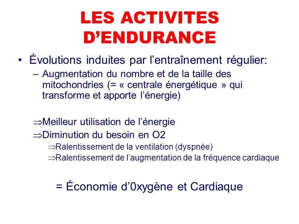 LES ACTIVITES DENDURANCE Évolutions induites par lentraînement régulier: –Augmentation du nombre et de la taille des mitochondries (= « centrale énergétique » qui transforme et apporte lénergie) Meilleur utilisation de lénergie Diminution du besoin en O2 Ralentissement de la ventilation (dyspnée) Ralentissement de laugmentation de la fréquence cardiaque = Économie d0xygène et Cardiaque