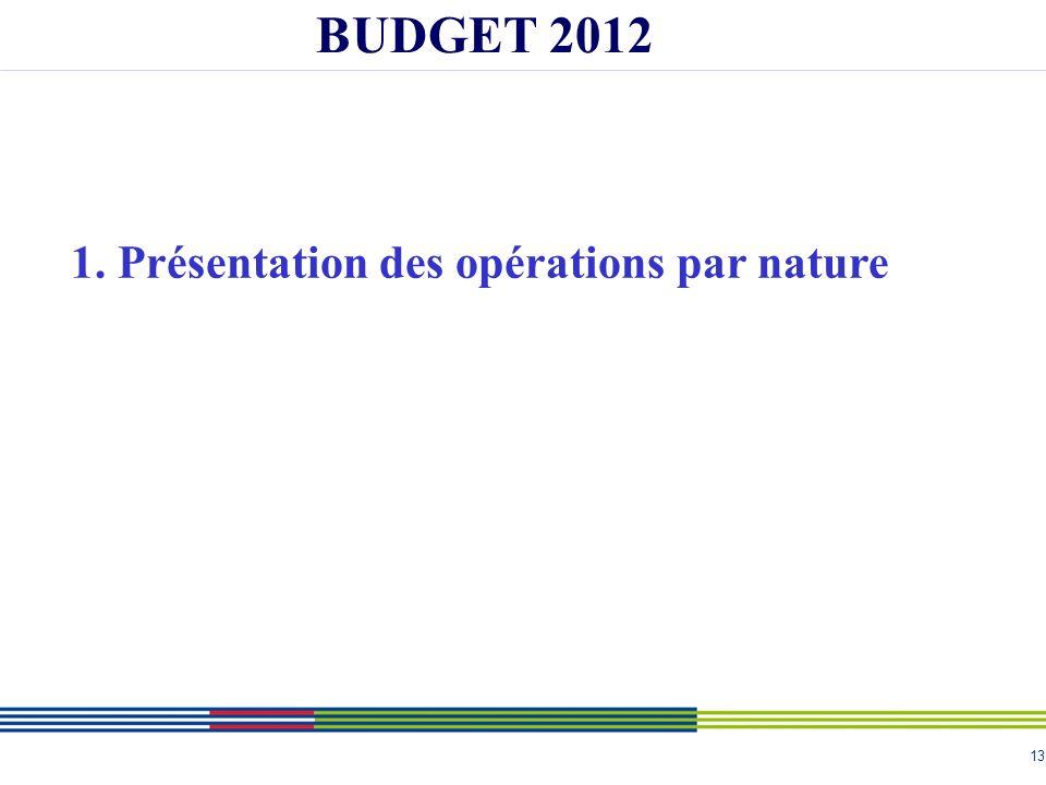 13 BUDGET 2012 1. Présentation des opérations par nature