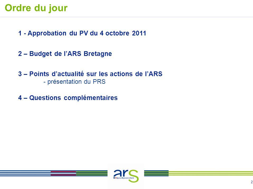 2 Ordre du jour 1 - Approbation du PV du 4 octobre 2011 2 – Budget de lARS Bretagne 3 – Points dactualité sur les actions de lARS - présentation du PRS 4 – Questions complémentaires
