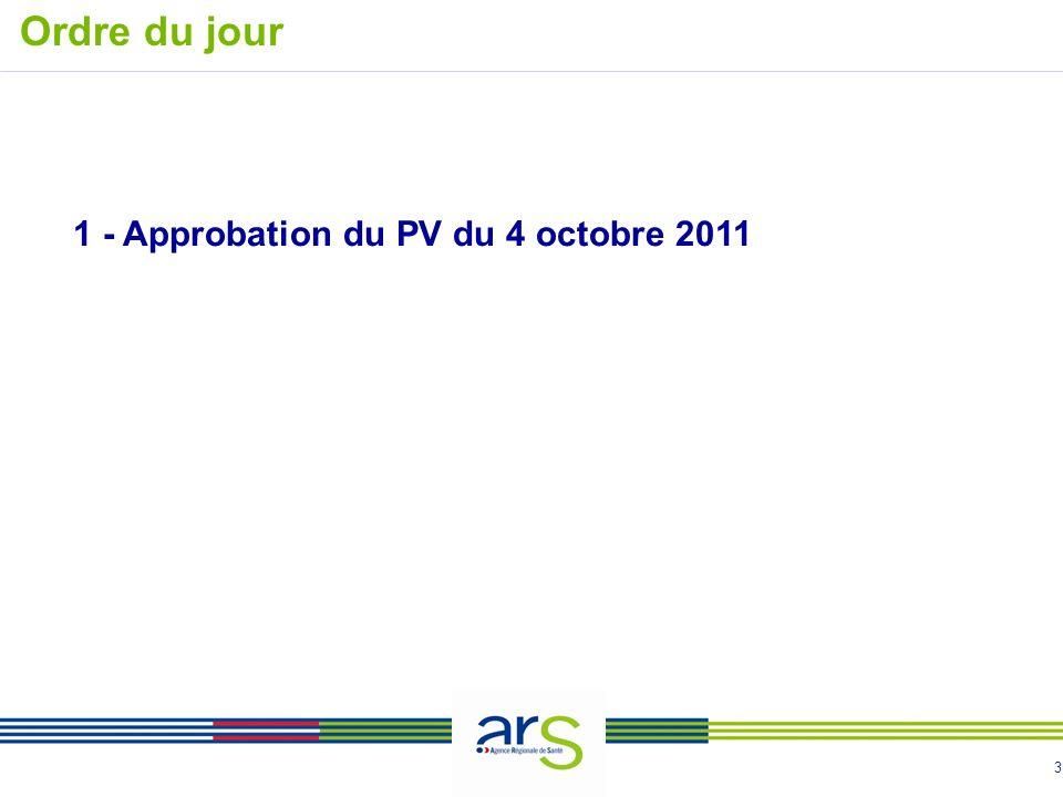 3 1 - Approbation du PV du 4 octobre 2011 Ordre du jour