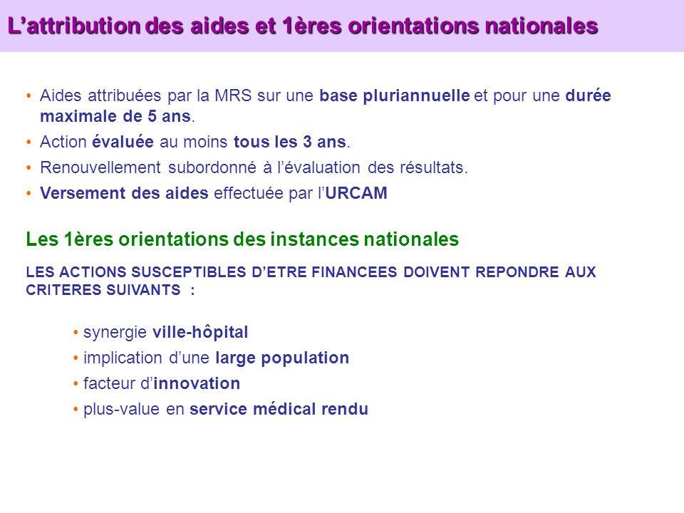 Lattribution des aides et 1ères orientations nationales Les 1ères orientations des instances nationales LES ACTIONS SUSCEPTIBLES DETRE FINANCEES DOIVE