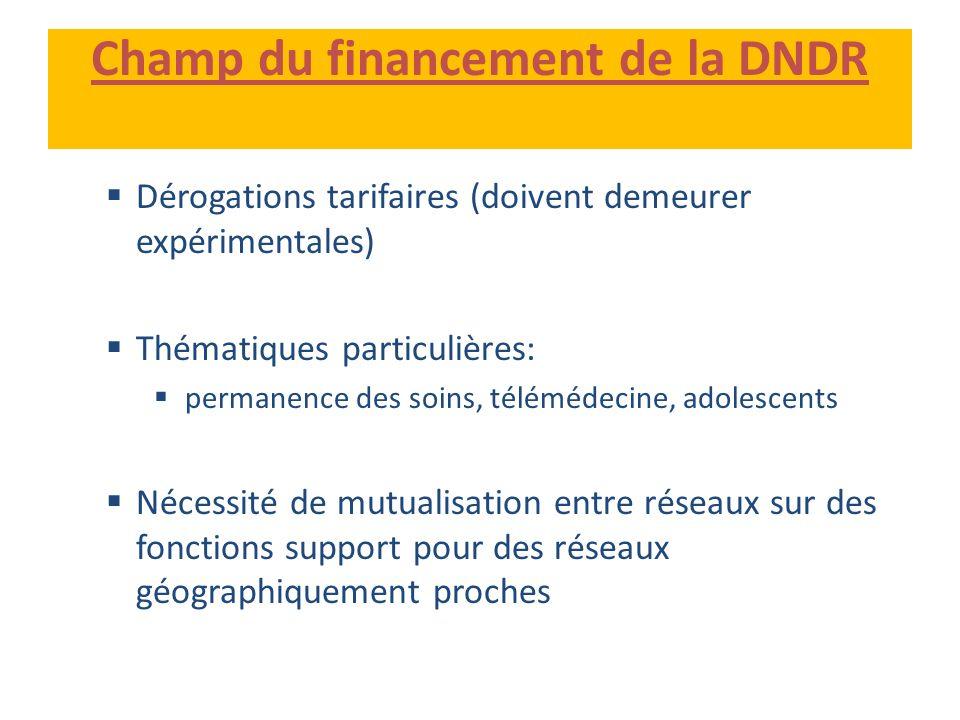 Champ du financement de la DNDR Dérogations tarifaires (doivent demeurer expérimentales) Thématiques particulières: permanence des soins, télémédecine