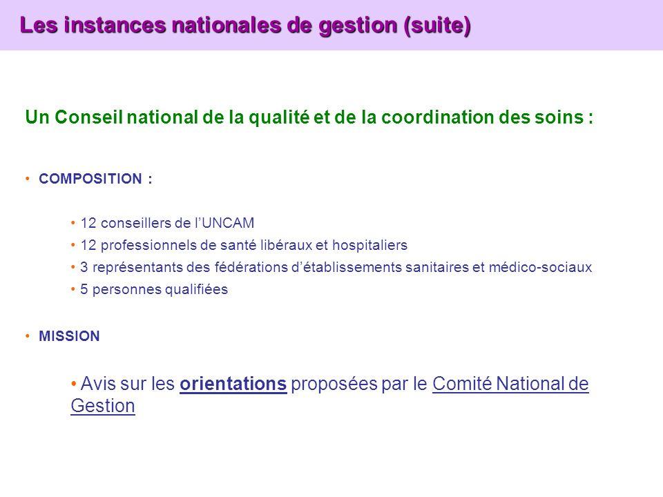 Les instances nationales de gestion (suite) Les instances nationales de gestion (suite) Un Conseil national de la qualité et de la coordination des so