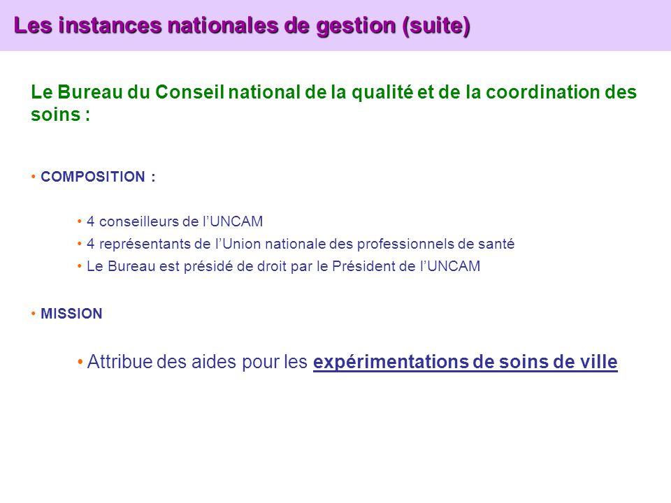 Les instances nationales de gestion (suite) Les instances nationales de gestion (suite) Le Bureau du Conseil national de la qualité et de la coordinat