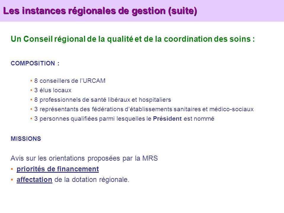 Les instances régionales de gestion (suite) Un Conseil régional de la qualité et de la coordination des soins : COMPOSITION : 8 conseillers de lURCAM