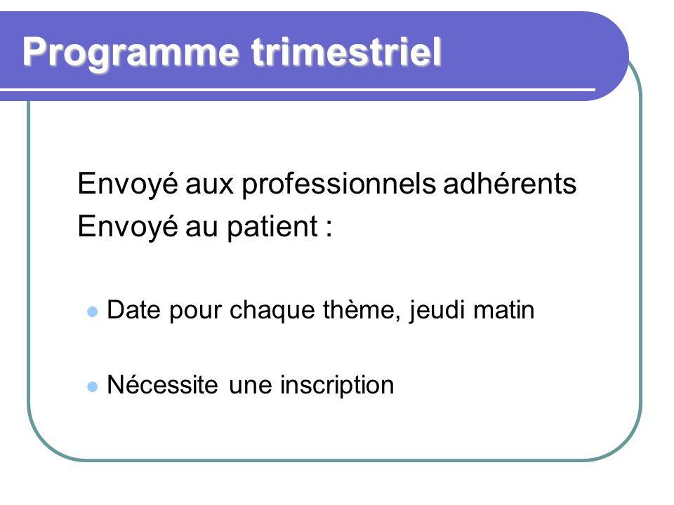 Programme trimestriel Envoyé aux professionnels adhérents Envoyé au patient : Date pour chaque thème, jeudi matin Nécessite une inscription