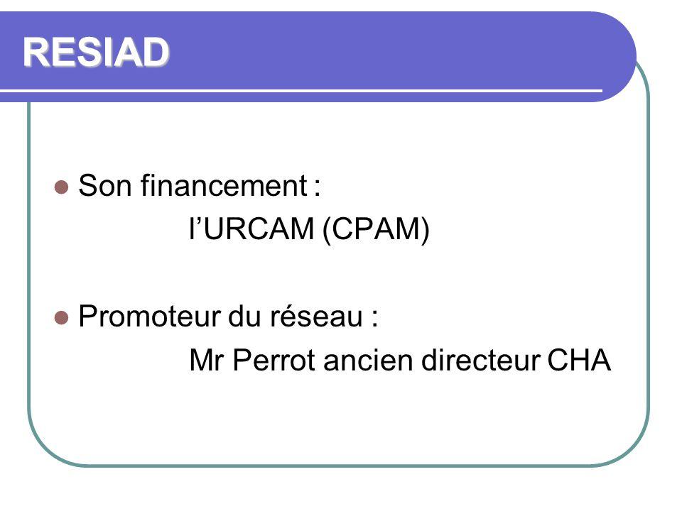 RESIAD Son financement : lURCAM (CPAM) Promoteur du réseau : Mr Perrot ancien directeur CHA