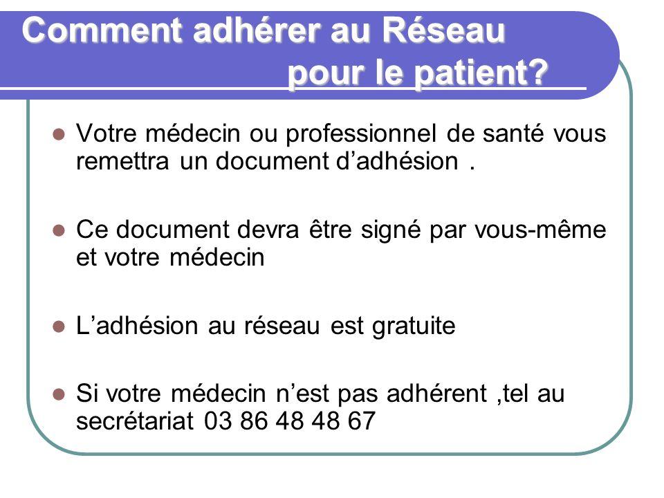 Comment adhérer au Réseau pour le patient? Votre médecin ou professionnel de santé vous remettra un document dadhésion. Ce document devra être signé p