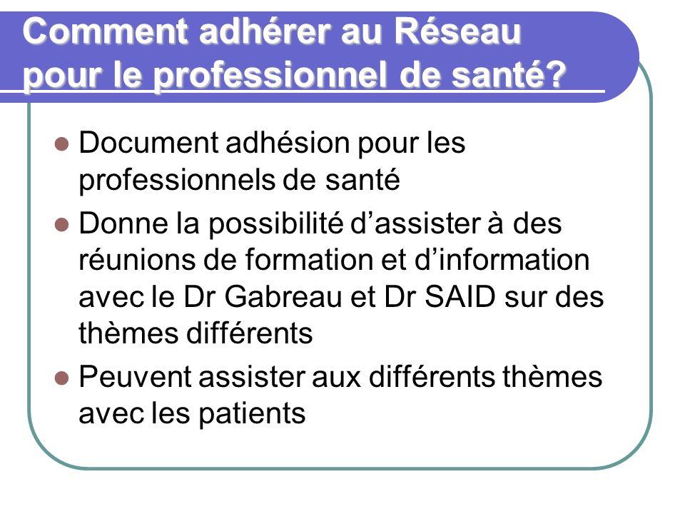 Comment adhérer au Réseau pour le professionnel de santé? Document adhésion pour les professionnels de santé Donne la possibilité dassister à des réun
