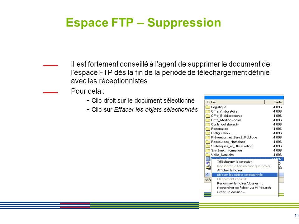 10 Espace FTP – Suppression Il est fortement conseillé à lagent de supprimer le document de lespace FTP dès la fin de la période de téléchargement déf