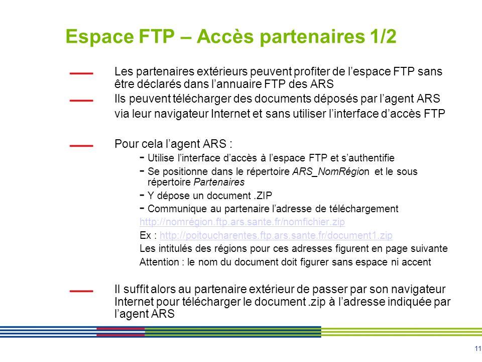 11 Espace FTP – Accès partenaires 1/2 Les partenaires extérieurs peuvent profiter de lespace FTP sans être déclarés dans lannuaire FTP des ARS Ils peuvent télécharger des documents déposés par lagent ARS via leur navigateur Internet et sans utiliser linterface daccès FTP Pour cela lagent ARS : - Utilise linterface daccès à lespace FTP et sauthentifie - Se positionne dans le répertoire ARS_NomRégion et le sous répertoire Partenaires - Y dépose un document.ZIP - Communique au partenaire ladresse de téléchargement http://nomrégion.ftp.ars.sante.fr/nomfichier.zip Ex : http://poitoucharentes.ftp.ars.sante.fr/document1.ziphttp://poitoucharentes.ftp.ars.sante.fr/document1.zip Les intitulés des régions pour ces adresses figurent en page suivante Attention : le nom du document doit figurer sans espace ni accent Il suffit alors au partenaire extérieur de passer par son navigateur Internet pour télécharger le document.zip à ladresse indiquée par lagent ARS