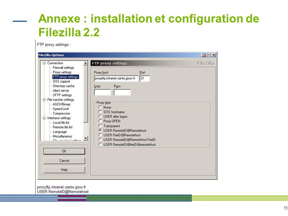 15 Annexe : installation et configuration de Filezilla 2.2