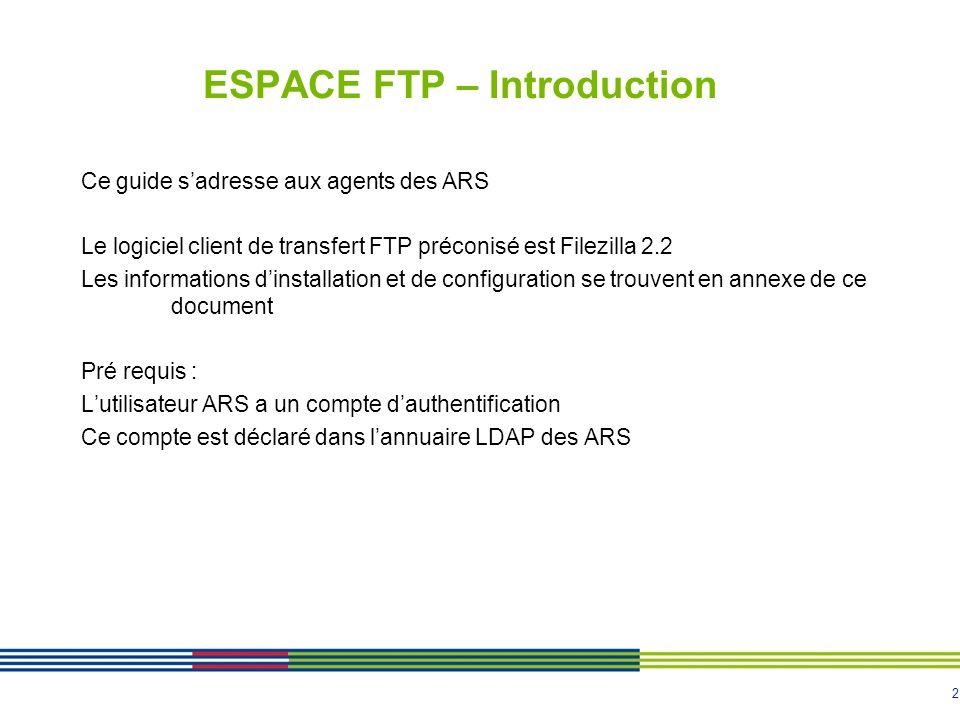 2 ESPACE FTP – Introduction Ce guide sadresse aux agents des ARS Le logiciel client de transfert FTP préconisé est Filezilla 2.2 Les informations dinstallation et de configuration se trouvent en annexe de ce document Pré requis : Lutilisateur ARS a un compte dauthentification Ce compte est déclaré dans lannuaire LDAP des ARS