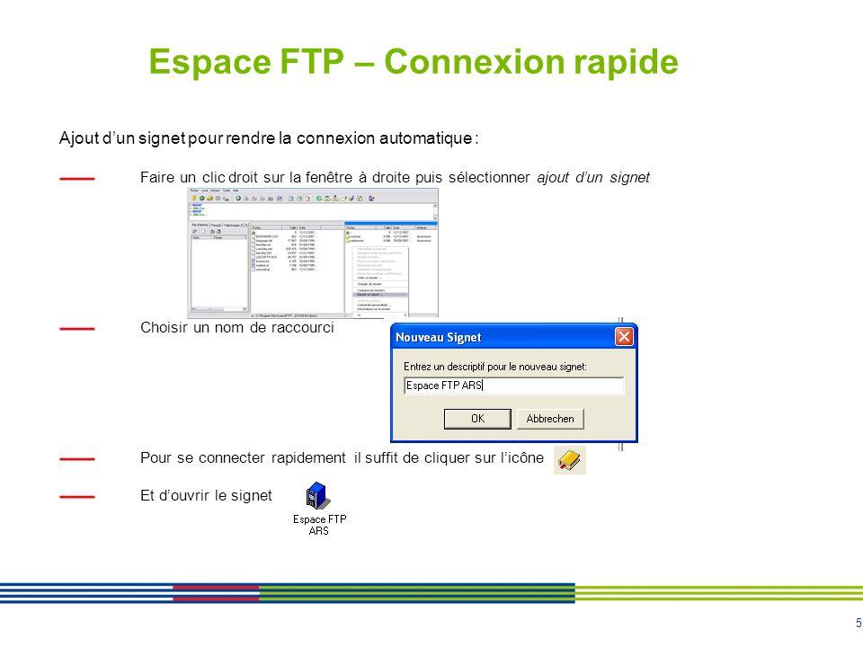 5 Espace FTP – Connexion rapide Ajout dun signet pour rendre la connexion automatique : Faire un clic droit sur la fenêtre à droite puis sélectionner