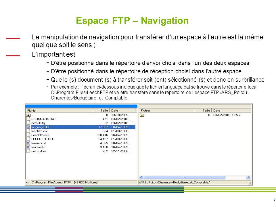 7 Espace FTP – Navigation La manipulation de navigation pour transférer dun espace à lautre est la même quel que soit le sens ; Limportant est - Dêtre positionné dans le répertoire denvoi choisi dans lun des deux espaces - Dêtre positionné dans le répertoire de réception choisi dans lautre espace - Que le (s) document (s) à transférer soit (ent) sélectionné (s) et donc en surbrillance - Par exemple : l écran ci-dessous indique que le fichier language.dat se trouve dans le répertoire local C:\Program Files\LeechFTP et va être transféré dans le répertoire de lespace FTP /ARS_Poitou- Charentes/Budgétaire_et_Comptable