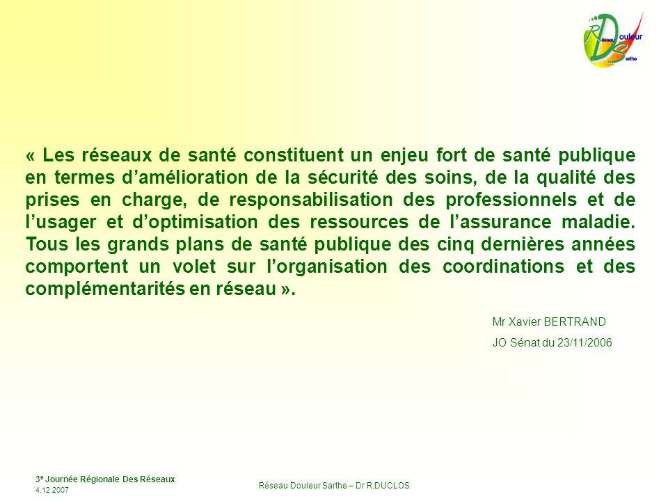 3 e Journée Régionale Des Réseaux 4.12.2007 Réseau Douleur Sarthe – Dr R.DUCLOS « Les réseaux de santé constituent un enjeu fort de santé publique en