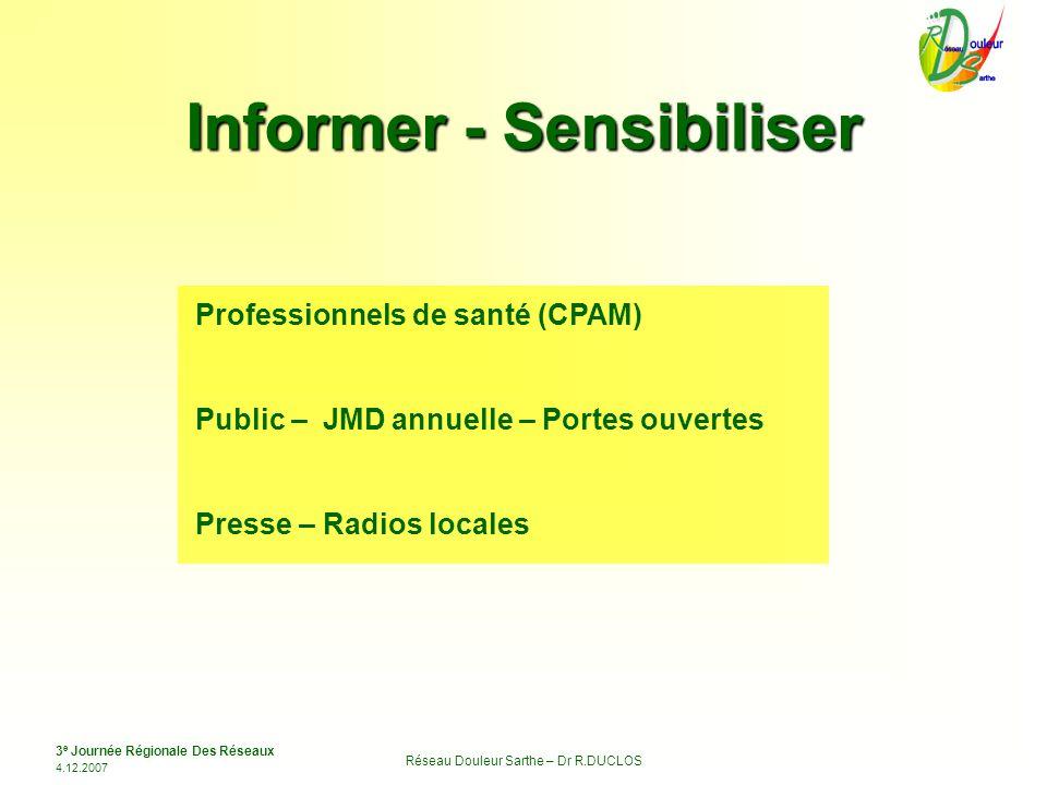 3 e Journée Régionale Des Réseaux 4.12.2007 Réseau Douleur Sarthe – Dr R.DUCLOS Informer - Sensibiliser Professionnels de santé (CPAM) Public – JMD an