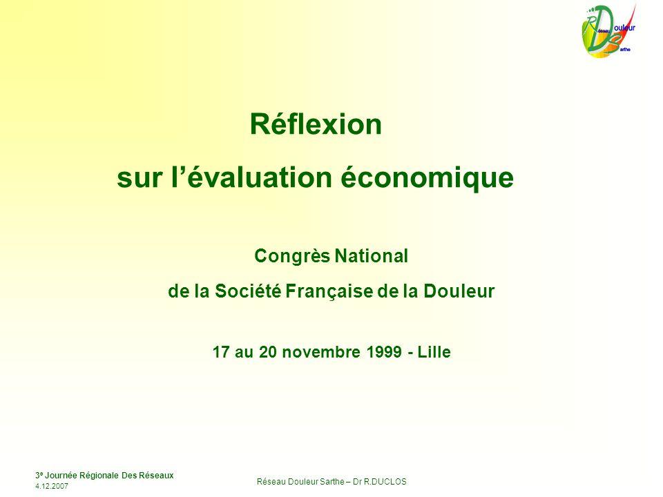 3 e Journée Régionale Des Réseaux 4.12.2007 Réseau Douleur Sarthe – Dr R.DUCLOS Congrès National de la Société Française de la Douleur 17 au 20 novemb