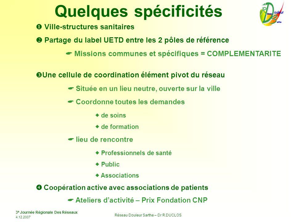 3 e Journée Régionale Des Réseaux 4.12.2007 Réseau Douleur Sarthe – Dr R.DUCLOS Quelques spécificités Ville-structures sanitaires Partage du label UET