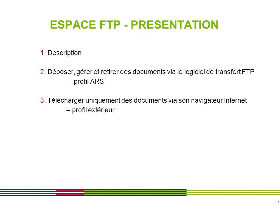 1 ESPACE FTP - PRESENTATION 1. Description 2. Déposer, gérer et retirer des documents via le logiciel de transfert FTP – profil ARS 3. Télécharger uni