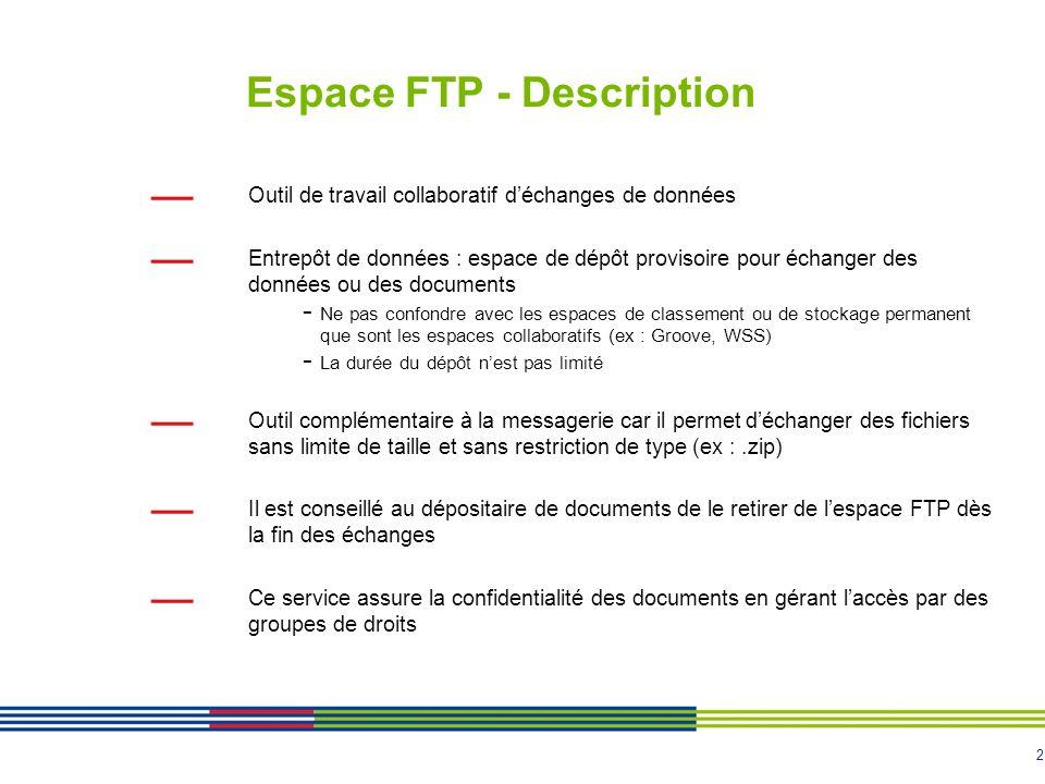 2 Espace FTP - Description Outil de travail collaboratif déchanges de données Entrepôt de données : espace de dépôt provisoire pour échanger des donné