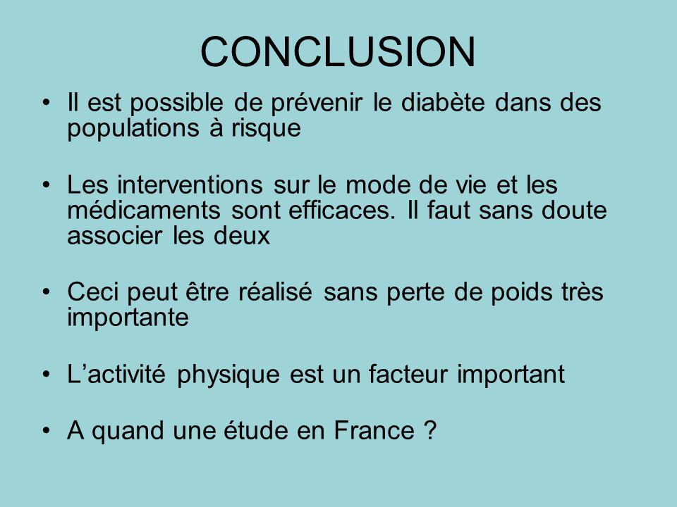 CONCLUSION Il est possible de prévenir le diabète dans des populations à risque Les interventions sur le mode de vie et les médicaments sont efficaces