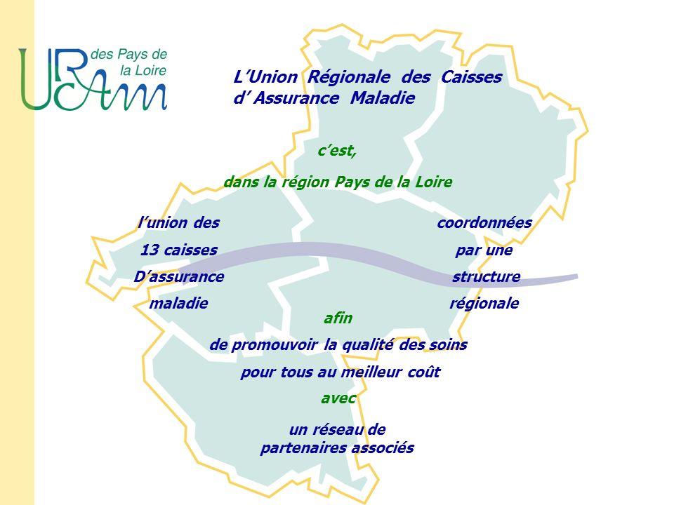 LUnion Régionale des Caisses d Assurance Maladie cest, dans la région Pays de la Loire lunion des 13 caisses Dassurance maladie coordonnées par une st