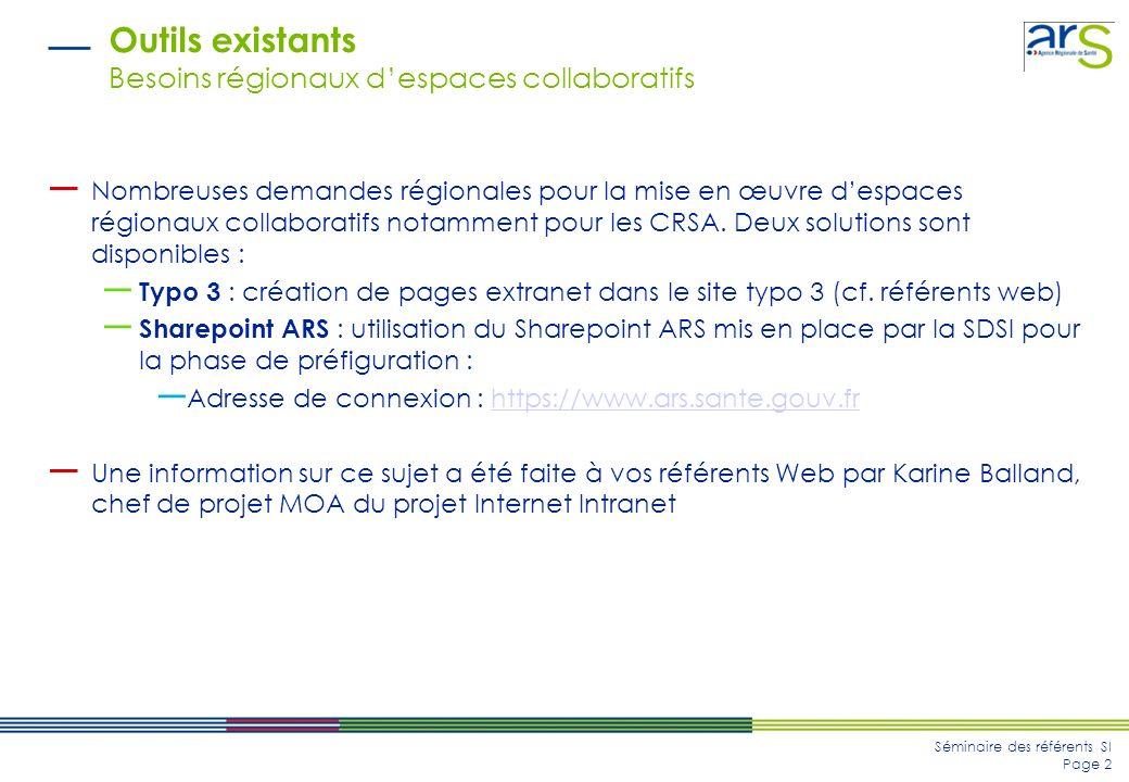 Séminaire des référents SI Page 2 Outils existants Besoins régionaux despaces collaboratifs Nombreuses demandes régionales pour la mise en œuvre despaces régionaux collaboratifs notamment pour les CRSA.