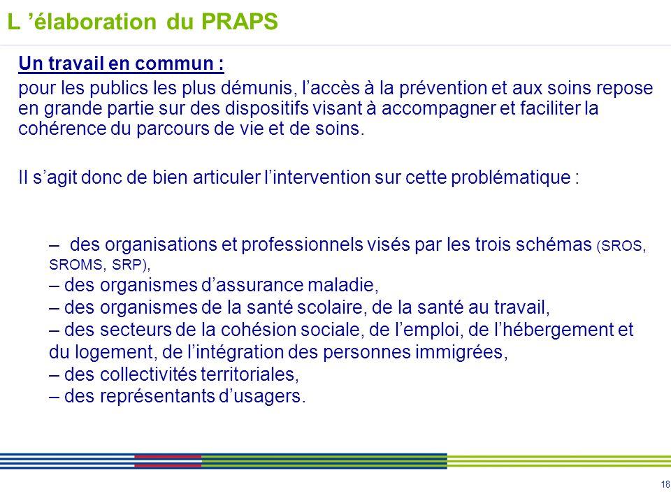 18 L élaboration du PRAPS Un travail en commun : pour les publics les plus démunis, laccès à la prévention et aux soins repose en grande partie sur des dispositifs visant à accompagner et faciliter la cohérence du parcours de vie et de soins.