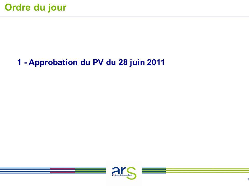 3 1 - Approbation du PV du 28 juin 2011 Ordre du jour