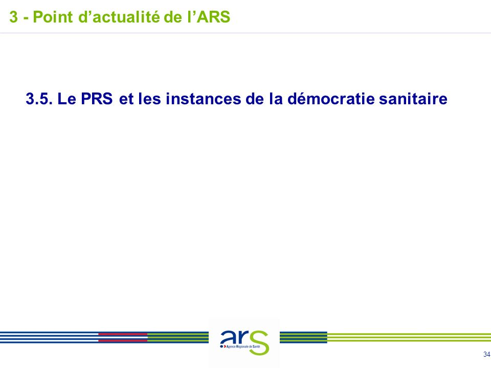 34 3.5. Le PRS et les instances de la démocratie sanitaire 3 - Point dactualité de lARS