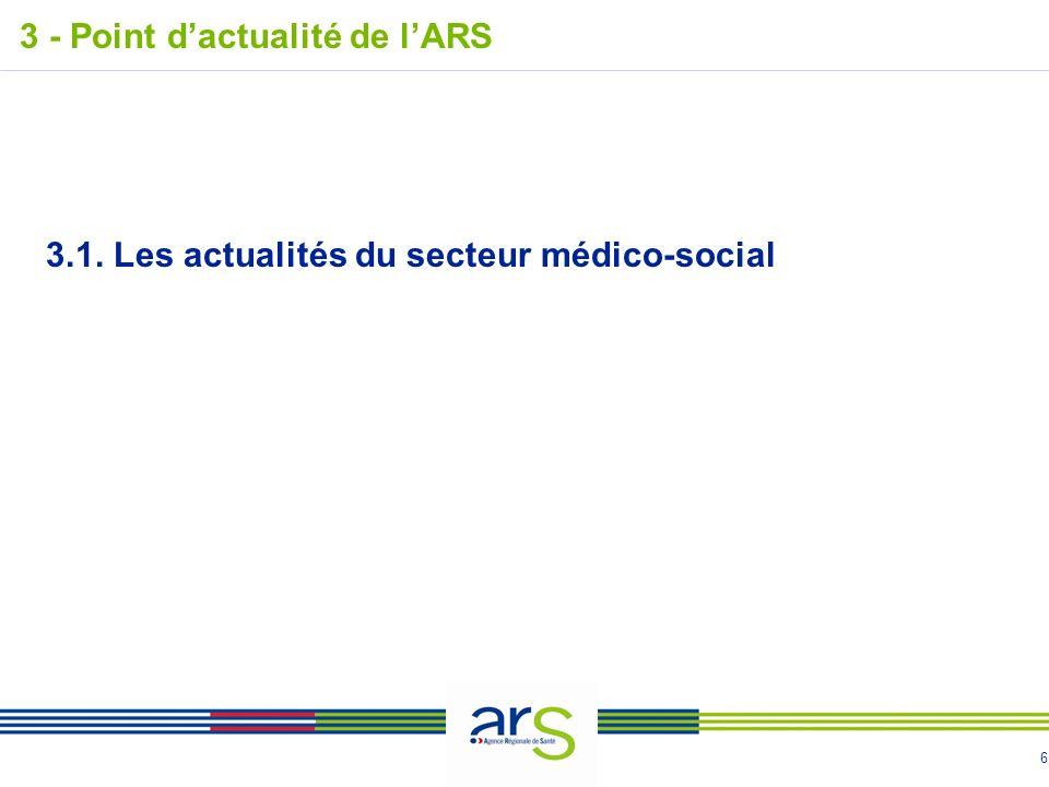 6 3 - Point dactualité de lARS 3.1. Les actualités du secteur médico-social