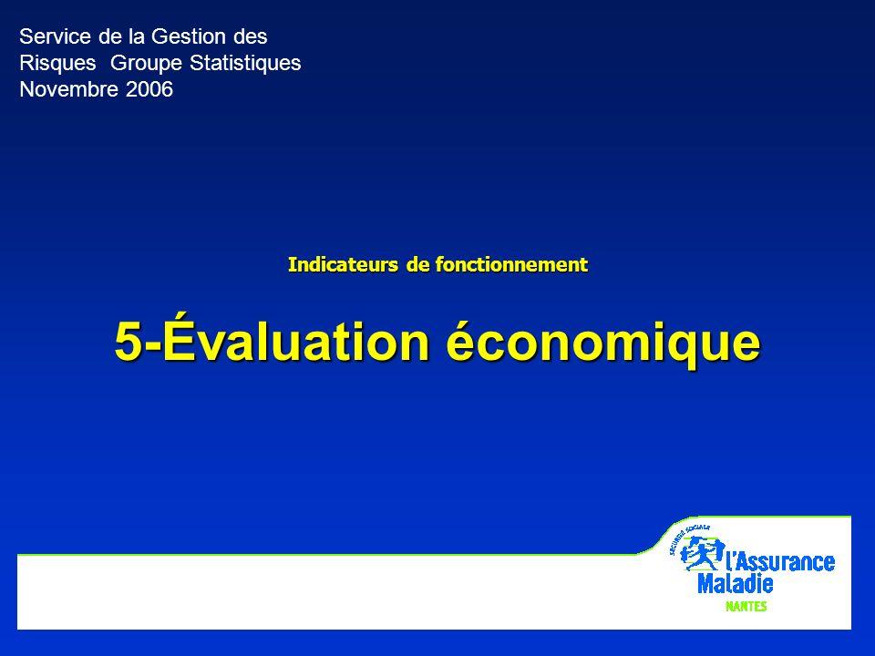 16 Service de la Gestion des Risques Groupe Statistiques Novembre 2006 Indicateurs de fonctionnement 5-Évaluation économique