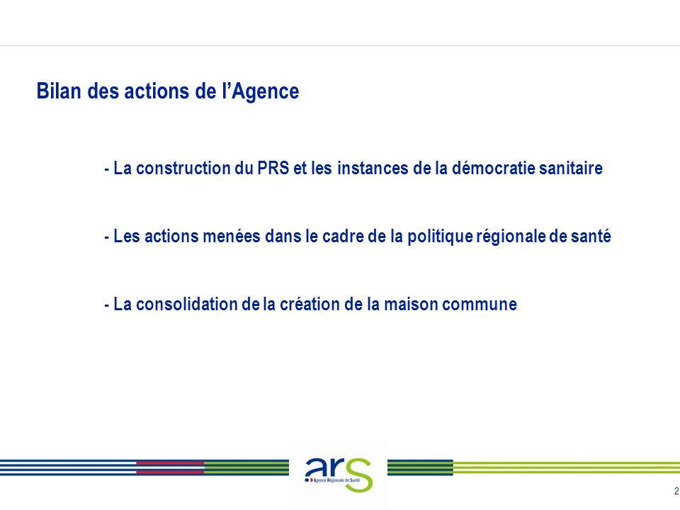 2 Bilan des actions de lAgence - La construction du PRS et les instances de la démocratie sanitaire - Les actions menées dans le cadre de la politique