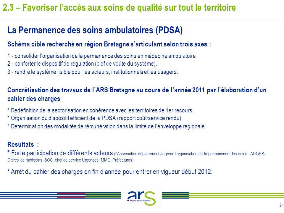 21 La Permanence des soins ambulatoires (PDSA) Schéma cible recherché en région Bretagne sarticulant selon trois axes : 1 - consolider lorganisation d