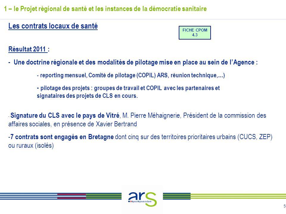5 Les contrats locaux de santé Résultat 2011 : - Une doctrine régionale et des modalités de pilotage mise en place au sein de lAgence : - reporting me