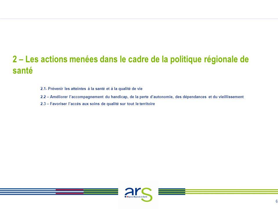 6 2 – Les actions menées dans le cadre de la politique régionale de santé 2.1- Prévenir les atteintes à la santé et à la qualité de vie 2.2 – Améliore